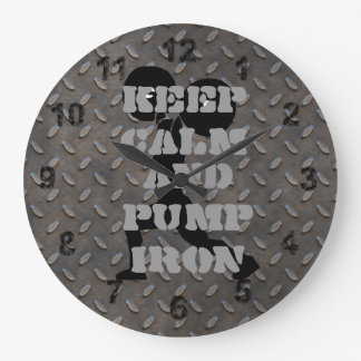 GYM HOME GYM Keep Calm and Pump iron Fitness Large Clock