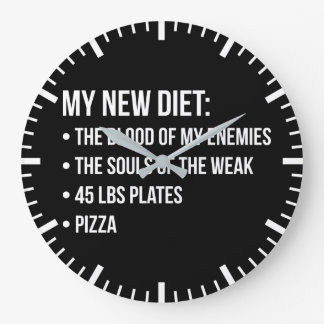 Gym Humor - Diet - Blood, Souls, Pizza - Funny Large Clock