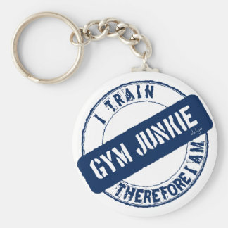 GYM JUNKIE. I TRAIN THEREFORE I AM. blue Basic Round Button Keychain