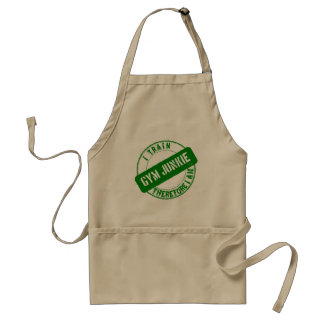 GYM JUNKIE. I TRAIN THEREFORE I AM. green Adult Apron