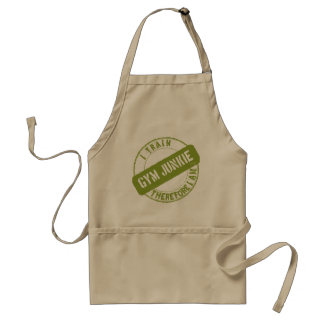 GYM JUNKIE. I TRAIN THEREFORE I AM. light green Adult Apron