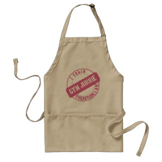 GYM JUNKIE. I TRAIN THEREFORE I AM. pink Adult Apron