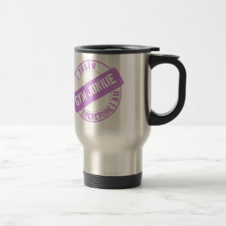 GYM JUNKIE. I TRAIN THEREFORE I AM. purple Travel Mug