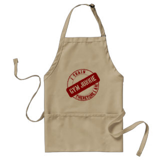 GYM JUNKIE. I TRAIN THEREFORE I AM. red Adult Apron