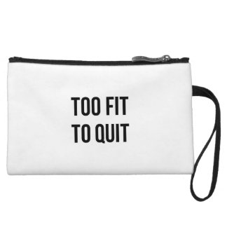 Gym Motivational Quotes Too Fit Black White Wristlet Wallet