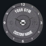 "Gym Owner or User Funny White Numbers Clock<br><div class=""desc"">Gym Owner or User Funny dark gray disk weight image with custom gym name text - perfect gift for those love workout,  fitness and bodybuilding,  or just like to spend time in gymnasium</div>"