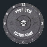 """Gym Owner or User Funny White Numbers Clock<br><div class=""""desc"""">Gym Owner or User Funny dark gray disk weight image with custom gym name text - perfect gift for those love workout,  fitness and bodybuilding,  or just like to spend time in gymnasium</div>"""