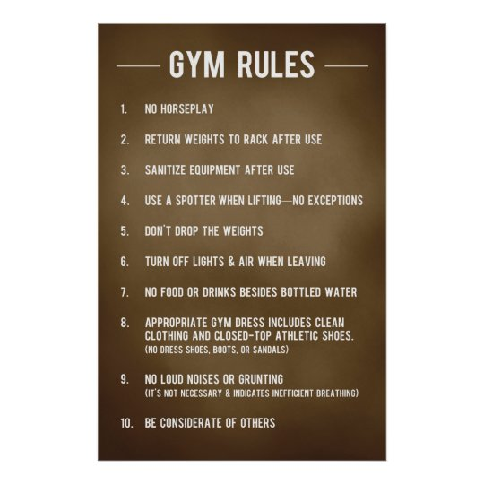 Gym Rules Poster Zazzle Com