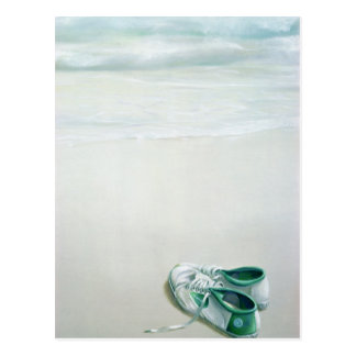 Gym Shoes on Beach Postcard