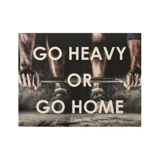 Gym Weights Training Fitness Motivational Wood Poster