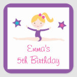 Gymastics Girl Birthday Stickers