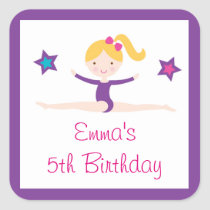 Gymastics Girl Birthday Stickers