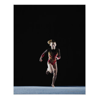 Gymnast (12-13) running on mat poster