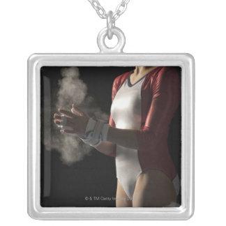 Gymnast 3 square pendant necklace