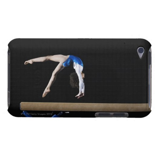 Gymnast (9-10) flipping on balance beam, side iPod touch cover
