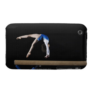 Gymnast (9-10) flipping on balance beam, side iPhone 3 cover