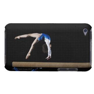 Gymnast (9-10) flipping on balance beam, side iPod Case-Mate case