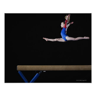 Gymnast (9-10) leaping on balance beam 2 posters