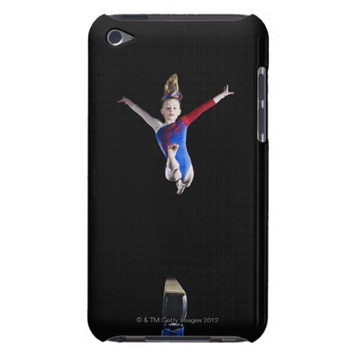 Gymnast (9-10) leaping on balance beam iPod Case-Mate cases