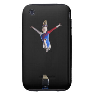 Gymnast (9-10) leaping on balance beam iPhone 3 tough cover
