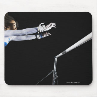 Gymnast (9-10) reaching for uneven bars 2 mouse pad