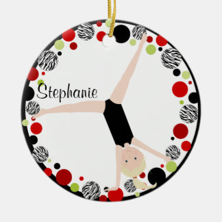 Gymnast Blonde in Red, Black & Green Personalized Double-Sided Ceramic Round Christmas Ornament