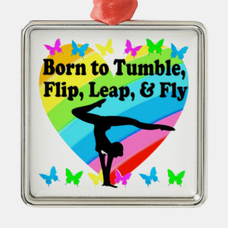 GYMNAST BORN TO TUMBLE AND FLY DESIGN METAL ORNAMENT