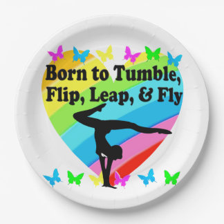 GYMNAST BORN TO TUMBLE AND FLY DESIGN PAPER PLATE