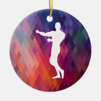 Gymnast Builders Graphic Double-Sided Ceramic Round Christmas Ornament