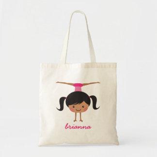 Gymnast cartoon girl personalized name tote bag
