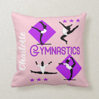 Gymnast Figures Cute Girls Gymnastics Personalized Throw Pillow