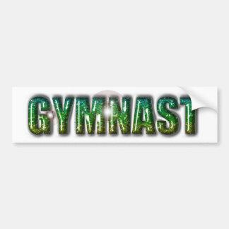 Gymnast Glitter Green Bumper Sticker
