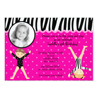 Gymnast Gymnastic Birthday Party Invitations