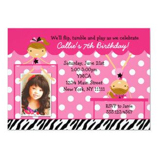 "Gymnast Gymnastics Birthday Party Invitation Zebra 5"" X 7"" Invitation Card"