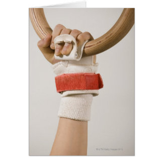 Gymnast hand holding ring greeting cards