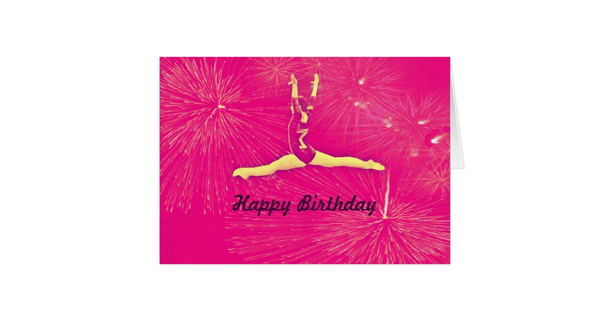 Gymnast Happy Birthday card | Zazzle.com