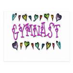 Gymnast hearts postcard