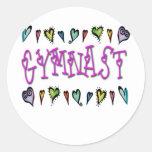 Gymnast hearts round sticker