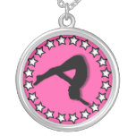 Gymnast in pink necklaces