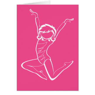 Gymnast in Silhouette Pink Card