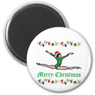 Gymnast Merry Christmas lights 2 Inch Round Magnet