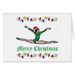 Gymnast Merry Christmas lights Greeting Card