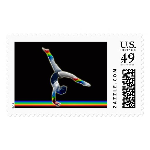 Gymnast on a Rainbow Beam Stamps