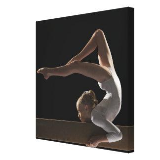 Gymnast on balance beam canvas print