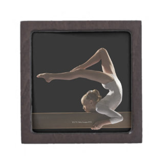 Gymnast on balance beam keepsake box