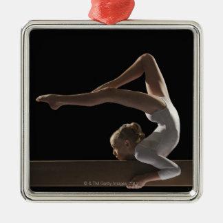 Gymnast on balance beam metal ornament
