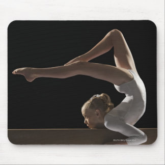 Gymnast on balance beam mouse pad