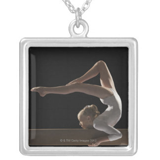 Gymnast on balance beam silver plated necklace