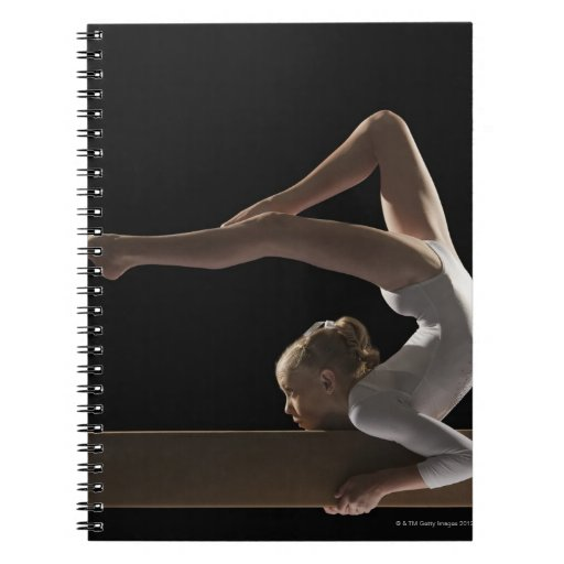 Gymnast on balance beam spiral notebooks
