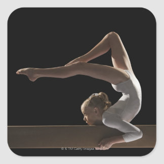 Gymnast on balance beam square sticker